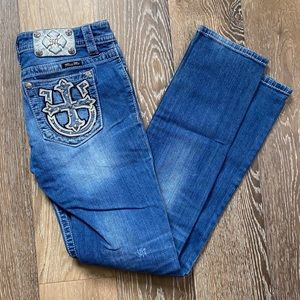Miss Me distressed embellished jeans cross 28